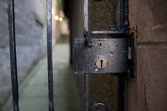 Behind the iron gate stock images
