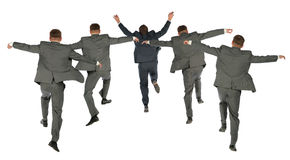 Behind jumping business team collage Stock Photos