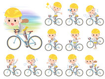 Behind knot hair women ride on rode bicycle Royalty Free Stock Photography