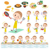 Behind knot hair yellow skirt woman cooking. Set of various poses of Behind knot hair yellow skirt woman cooking Stock Photo