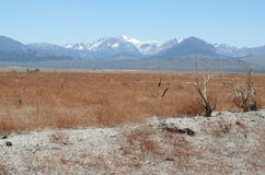 Behind the Mono Lake. Red landscape next to Mono Lake Stock Photo