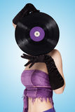 Behind purple vinyl. Stock Photo