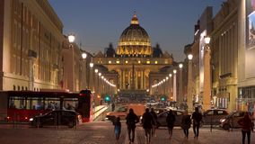 Behind the Saint Peter`s square and Basilica, Rome, Vatican. Travel to Italy: in the evening, behind the Saint Peter`s square and Basilica, Rome, Vatican stock footage