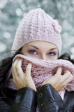Behind the scarf Royalty Free Stock Images