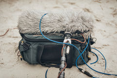 Behind the scene. Equipment for voice and sound recording. On outdoor location Royalty Free Stock Photos