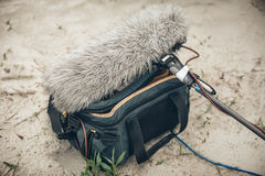 Behind the scene. Equipment for voice and sound recording Royalty Free Stock Photos
