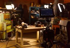 Behind the scene photo of video production. Video making and film production royalty free stock images