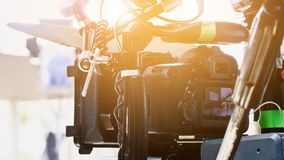 Behind the scenes. Cinema Camera on Film Set, Behind the scenes background, film crew production stock image