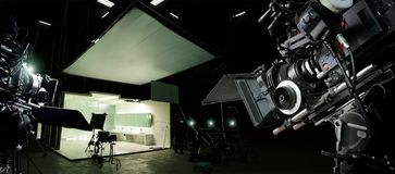 Behind the scenes of making of movie and TV commercial. Camera of movie and video production. Film Crew. B-roll, and crew team