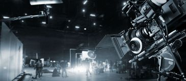 Behind the scenes of making of movie and TV commercial. Film Crew.
