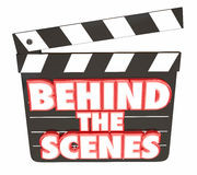Behind the Scenes Movie Film Clapper Board. 3d Illustration Stock Photos