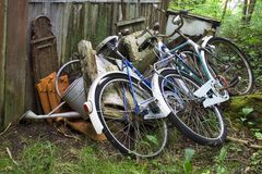 Behind the shack. Discarded things behind a shack Stock Photo