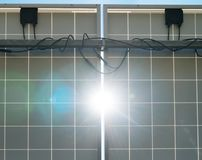 Solar panels. Behind the solar panels. Renewable energy Royalty Free Stock Image