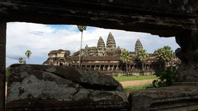 Behind The Stone of Angkorwat Temple. There is the temple of angkorwat, that used by monk to make ceremonial royalty free stock photo