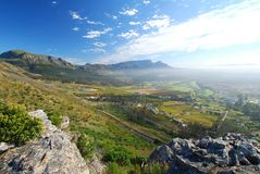 Behind Table Mountain. Cape Town view looking toward back of Table Mountain Royalty Free Stock Images