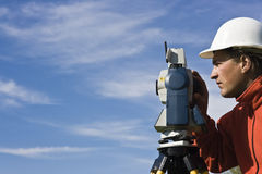 Behind Theodolite Stock Photo