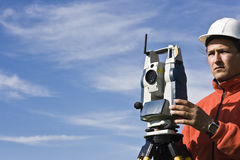 Behind Theodolite Royalty Free Stock Photo