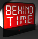 Behind Time Digital Clock Shows Running Late Or Overdue Royalty Free Stock Photo