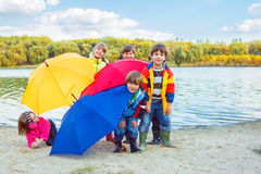 Behind umbrellas Royalty Free Stock Image