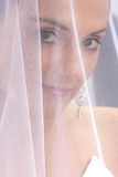 Behind Veil. A bride behind her veil before chapel Stock Images