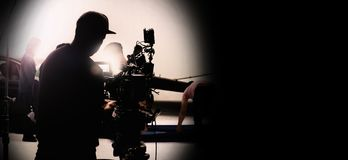 Free Behind Video Camera In Film Or Movie Production On Tripod Stock Image - 142236311