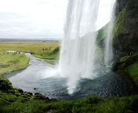 The behind view of Seljalandsfoss in iceland Stock Photo