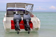Behind view of speed boats in the sea,motor boat, personal water craft Stock Images