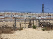 CLosed gate to wall, sign of Israeli occupation Stock Photo