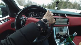 Behind the wheel of your favorite range rover, view from the salon stock images