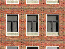 Behind Window Number Three. Classic brick office window facade stock photos