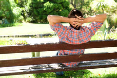 Behind of young male relaxing on wooden bench in park Royalty Free Stock Image