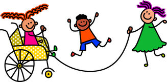 Behinderte überspringende Kinder Lizenzfreie Stockbilder