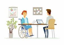 Behinderte Frau im Büro - moderne Karikaturleute-Charakterillustration stock abbildung