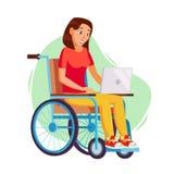 Behinderte Frau Person Working Vector Frau, die im Rollstuhl sitzt Behindert und Wiederherstellung Flache Karikaturillustration vektor abbildung