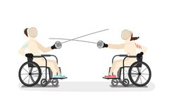 Behinderte junge Frau und Mann, die Kostüm einzäunend trägt stock abbildung