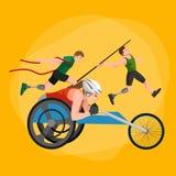 Behinderter Athlet mit Prothesenkonzept, Sport für Leute mit Prothese, körperlicher Tätigkeit und Wettbewerb Lizenzfreie Stockfotos
