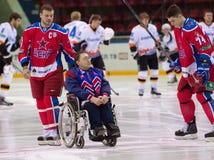 Behinderter Fan auf Rollstuhl Lizenzfreies Stockbild