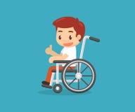 Behinderter Mann und Rollstuhl Stockfotografie