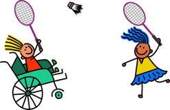 Behindertes Mädchen spielt Badminton stock abbildung