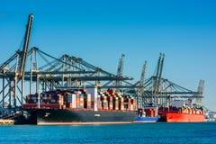 Behållareskepp som anslutas i den Rotterdam hamnen Royaltyfria Bilder