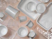 Behälter des Plastiks und des Polystyrens Stockfotografie