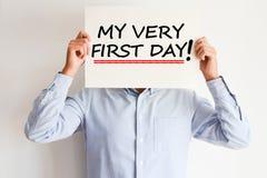 Behoeftebegeleiding op mijn eerste dag bij nieuwe baan stock foto