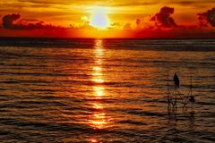 Red Skies Sunrise Majestic Moment stock photos