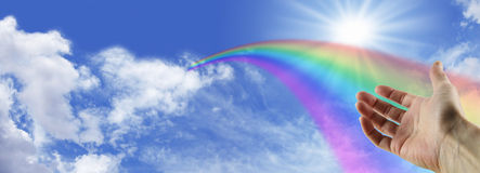Behold a magnificent rainbow royalty free stock photo