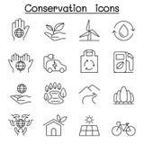 Behoud & Ecologiepictogram in dunne lijnstijl die wordt geplaatst stock illustratie