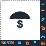 Behoud en beschermings vlak geldpictogram royalty-vrije illustratie