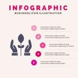 Behoud, Installatie, Hand, Energie Stevig Pictogram Infographics 5 de Achtergrond van de Stappenpresentatie stock illustratie