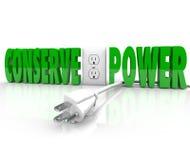 Behoud Stop van het Machts de Elektrokoord sparen Energiebehoud royalty-vrije illustratie