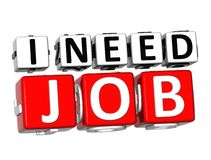 behovsJob Button Click Here Block för 3D I text Royaltyfri Bild
