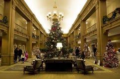Bei alberi di Natale in un albergo di lusso Immagini Stock Libere da Diritti
